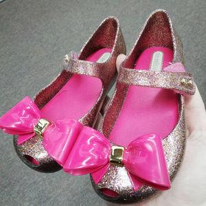 Mini Melissa Todler Pink Glitter Sandals 10 Girl